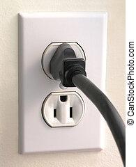 wand, stecker, -, schwarz, outlet