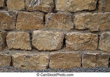 wand, steine, gemacht, natürlich