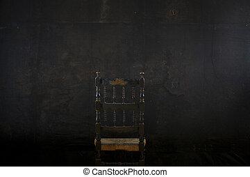 wand, stuhl, schwarz