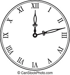 wand, vektor, schwarz, clock., abbildung