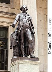 Wand,  -,  Washington,  George, straße,  york,  statue, neu,  Manhattan