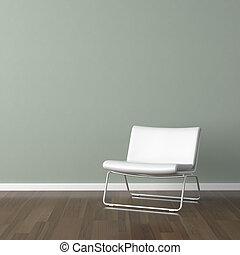 wand, weißes, modern, grüner stuhl