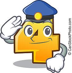 wand, zeichen, polizei, nr. vier