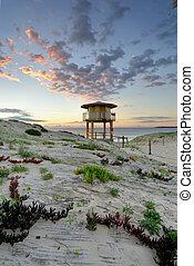 Wanda Beach Surf Life Guard Lookout Tower at sunrise - View...