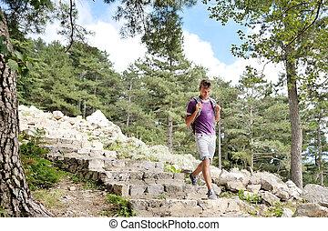wandelaar, berg, wandelende, steegjes