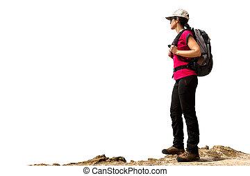 wandelaar, isolated., schooltas, vrouwlijk