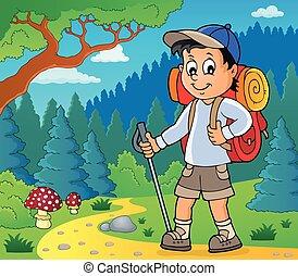 wandelaar, jongen, beeld, 2, topic