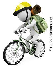 wandelaar, mensen., witte , fietser, 3d