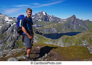 wandelaar, noorwegen, jonge