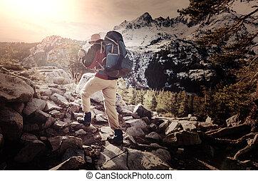 wandelen, in, bergen
