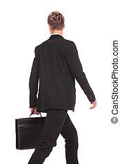 wandelende, aanzicht, back, zakenmens
