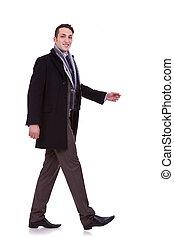 wandelende, aanzicht, bovenkant, zakenmens