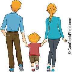 wandelende, back, gezin, aanzicht
