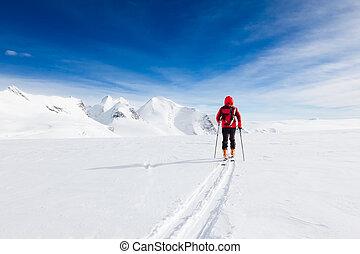 wandelende, bergbeklimmer, winter, gletsjer, gedurende, op grote hoogte, e