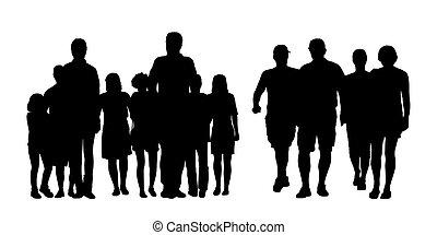 wandelende, buiten, mensen, 1, silhouettes, set, groepen