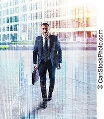 wandelende, city., dubbel, determinated, zakenman, blootstelling