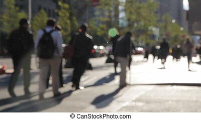 wandelende, city., mensen
