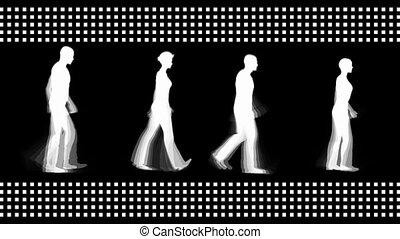 wandelende, digitale , mensen