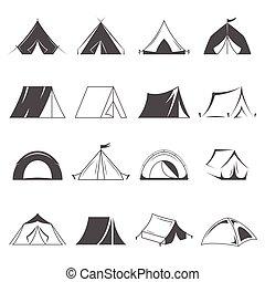 wandelende, en, kampeertent, vector, icons., toerisme, en, kamperen, symbolen