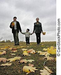 wandelende, family., herfst