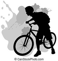 wandelende, fiets, tiener
