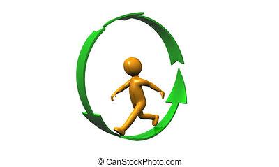 wandelende, gevormde, pijl, menselijk, cirkel, pictogram