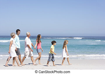 wandelende, gezin, generatie, drie, langs, strand, zanderig