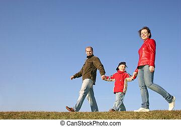wandelende, gezin, met, zoon