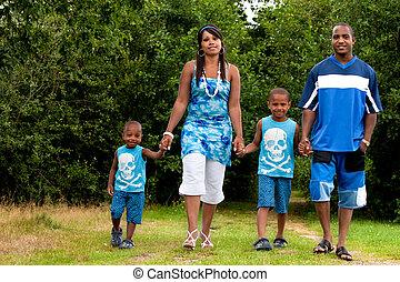 wandelende, gezin, natuur