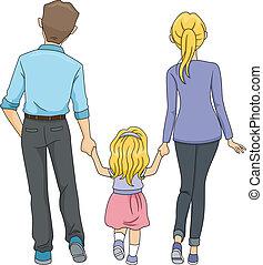 wandelende, gezin, samen