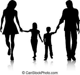 wandelende, gezin