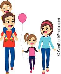 wandelende, gezin, vrolijke