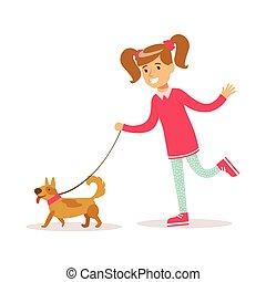 wandelende, girly, classieke, kleur, karakter, dog, het glimlachen meisje, vrolijke , spotprent, kleren