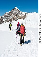 wandelende, glacier., groep, klimmers