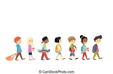 wandelende, groep, scholieren, school, vrijstaand, gaan, kinderen