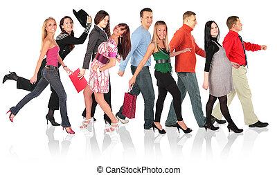 wandelende, groep, witte , mensen