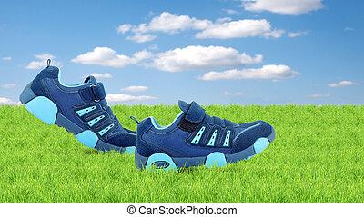 wandelende, gymschoen, zich