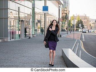 wandelende, haast, zakenmens