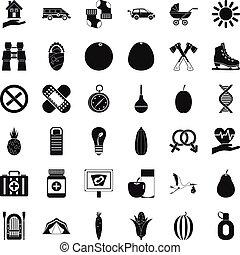 wandelende, iconen, set, stijl, eenvoudig, kind