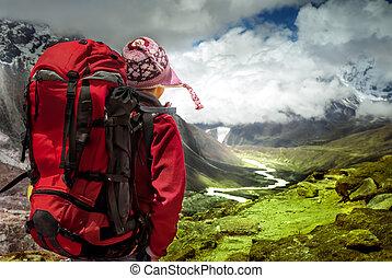 wandelende, in, himalaya, bergen.