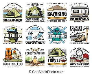 wandelende, kamp, schooltas, ski's, toerist, tentje, laarzen