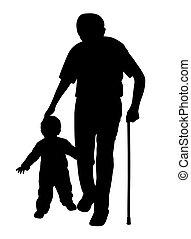 wandelende, kind, stok, grootvader