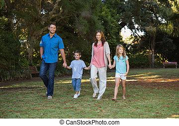 wandelende, kinderen, ouders, hun, twee