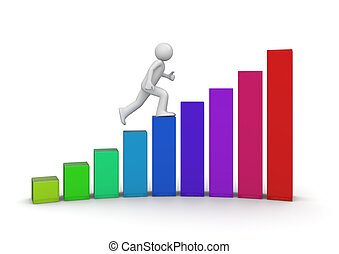wandelende, ladder, succes