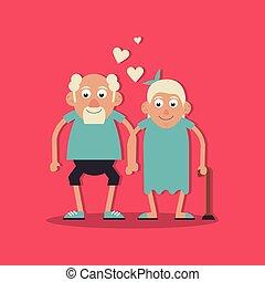 wandelende, liefde, achtergrond, haar, kleur, grootouders, paar, stok, holdingshanden, magenta