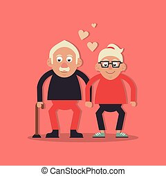 wandelende, liefde, achtergrondkleur, grootouders, paar, salmon, stok, holdingshanden, hem