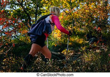 wandelende, loper, jonge, stangen, noords, vrouwlijk