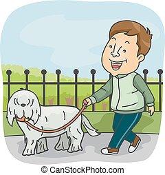 wandelende, man, dog, sportief