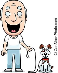 wandelende, man, dog, spotprent