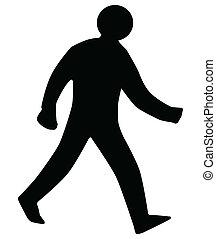 wandelende, man, silhouette